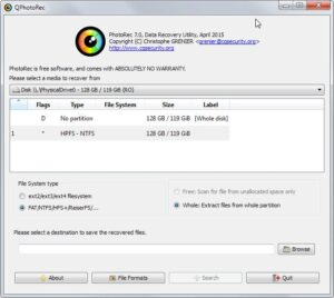 photorec-gui (best free data recovery software)